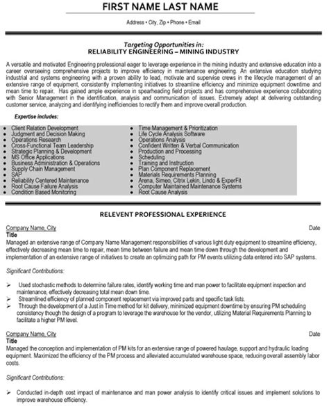 Mining Engineer Sle Resume by Resume Site Reliability Engineer 28 Images Civil Site Engineer Sle Resume Cover Letter