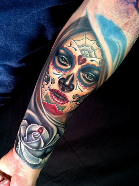 santa muerte tattoo images colorful santa muerte with white with drop of