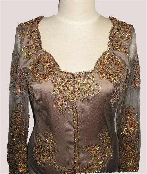 Gamis H kebaya in copper color lace