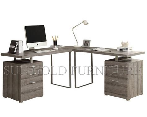 Hot Sale Simple Style L Shape Corner Grey Office Computer Simple Corner Desk