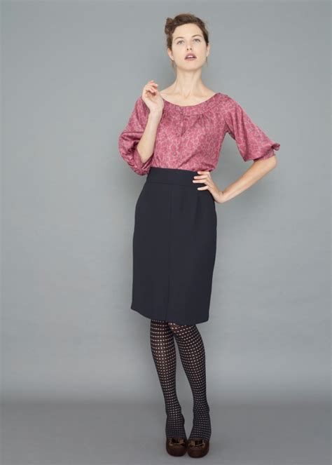 pencil skirt with blouse silk pintuck blouse