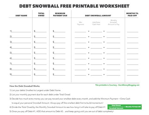 Debt Snowball And Free Printable Worksheet Earn Money Blogging Debt Reduction Template
