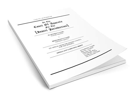 appellate brief cover page template