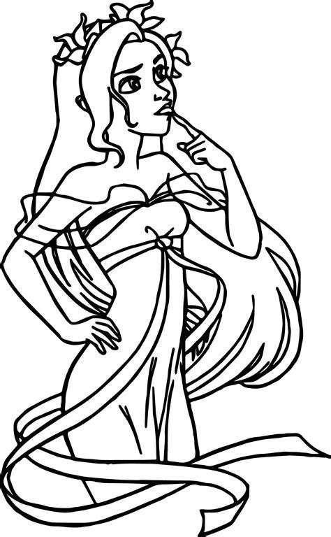 disney enchanted thinking princess girl thinking coloring