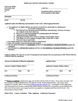 Application For Expungement Of Criminal Record Portage County Court Fill Printable Fillable Blank Pdffiller