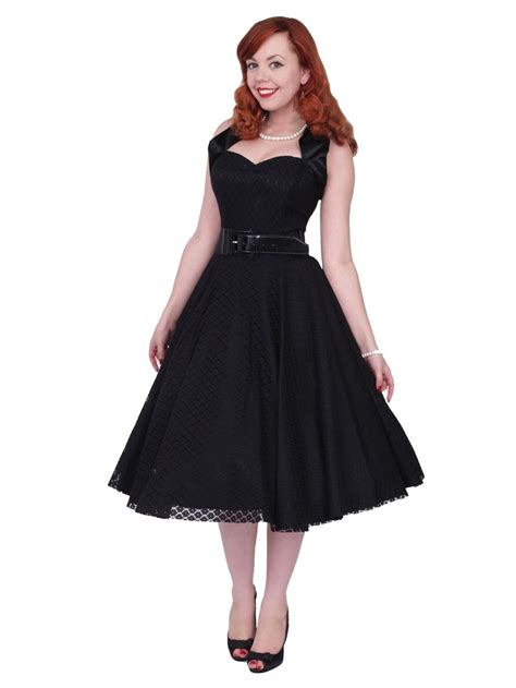 Halter Lace Dress W8255 Black 1950s halterneck luxury black satin lace dress from vivien