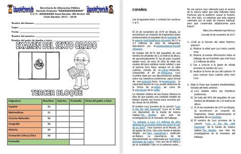 examen del sexto grado del tercer bloque del ciclo escolar - Preguntas Sin Respuestas Toby Letra