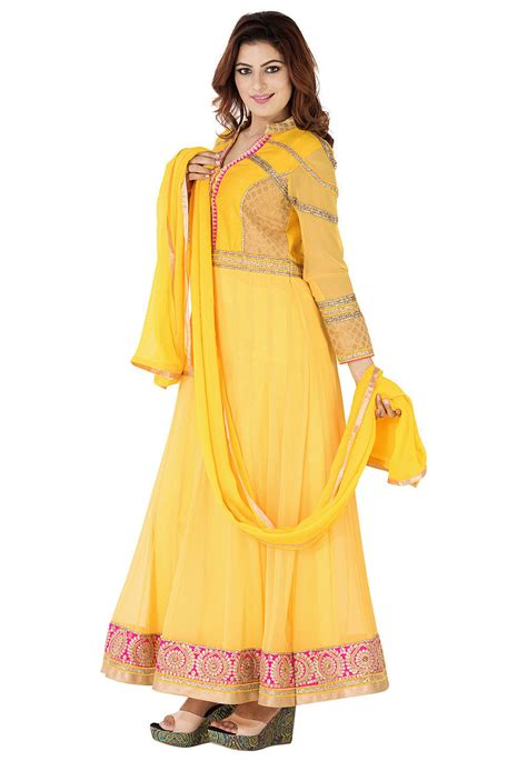 Abaya Bordir 35 embroidered border georgette abaya style suit in yellow