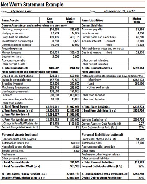 Farm Balance Sheet Template by Balance Sheet Personal Sle