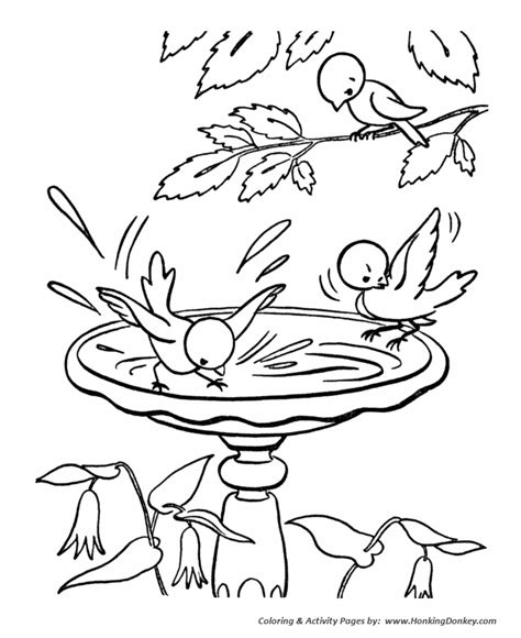 spring coloring pages kids spring birds in the birdbath