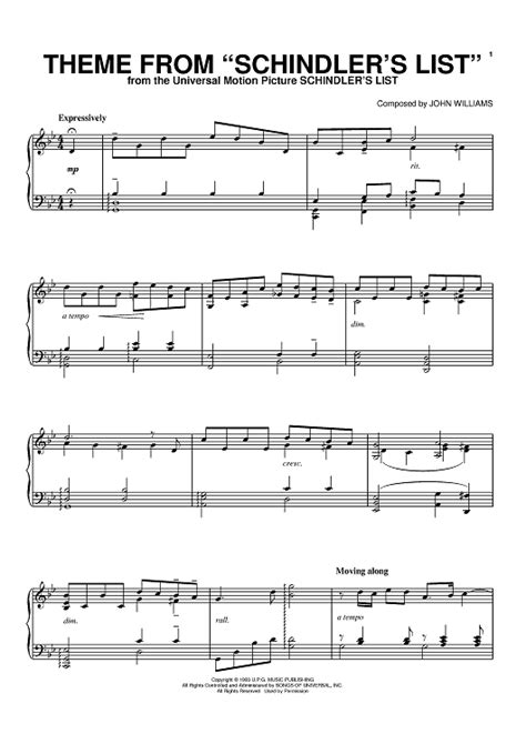 theme songs list theme from quot schindler s list quot sheet music for piano and
