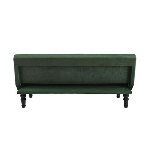 futon matratze rollbar velour convertible futon in green with scroll legs 2109959