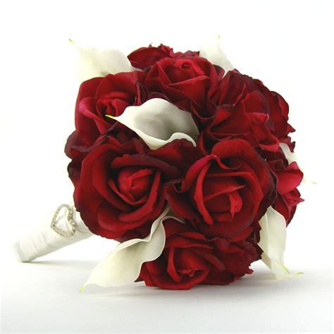 Bridal Bouquet Red Roses White Calla Lilies Real Touch