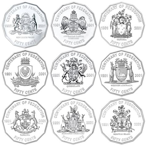 C 50 Pcs australia 2001 centenary of federation 50c set of 9 coins