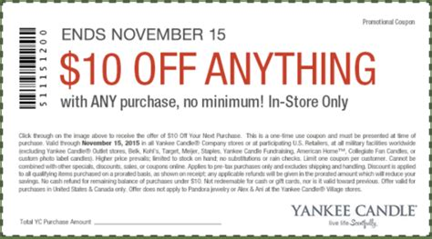 printable yankee candle coupons september 2015 yankee candle coupon 10 off any purchase free 15 item
