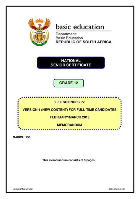 Life Sciences P2 Feb March 2013 Version 1 Memo Eng