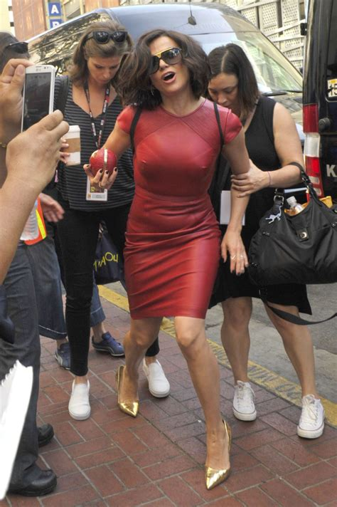 lana parrilla now lana parrilla in red leather dress at comic con 2016 08