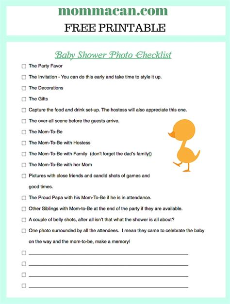 Checklist For Baby Shower by Baby Shower Photo Checklist Momma Can