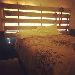Headboard With Lights Manage To Create A Pallet Headboard With String Lights Nailed To The Back Few Coats Of Paints