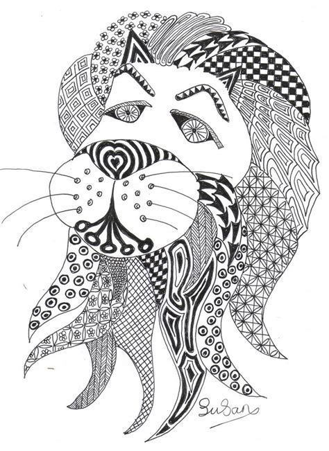 feathered lion tangle zentangle animals pinterest 17 best images about art cat zentangle on pinterest