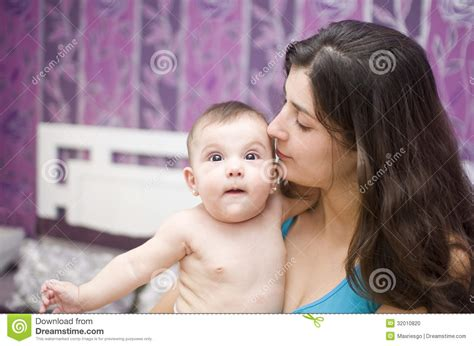 good morning kiss in bedroom mother kiss stock photo image 32010820
