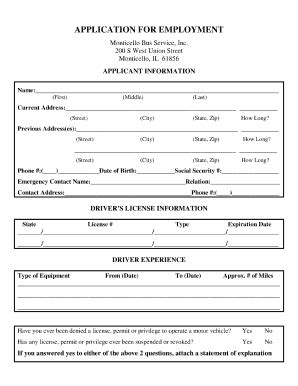 driver job application form fill online printable