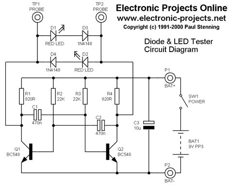 diode polarity schematic electronic projects diode and led tester