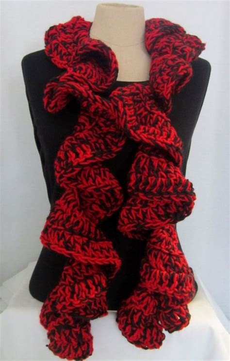 easy knitting pattern ruffle scarf crochet scarf ruffle red and black ruffle scarf crochet