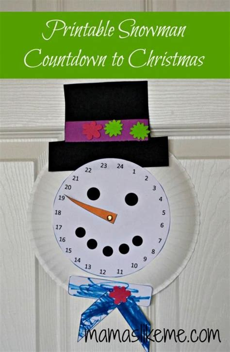 free printable snowman countdown to christmas paper