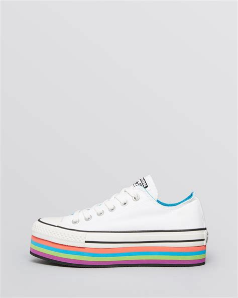 Converse All Fullwhite Sneakers Putih lyst converse lace up platform sneakers all multicolor in white