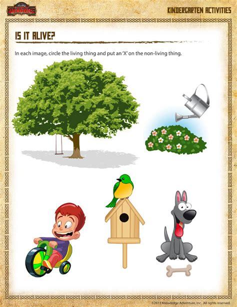 Is It Alive Worksheet by Is It Alive Printable Science Worksheet For Kindergarten School Of Dragons