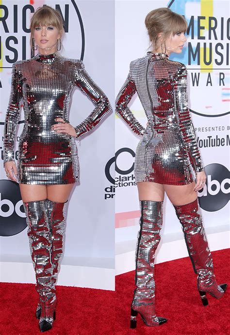 taylor swift dress youtube taylor swift s dress at amas 2018 silver mini boots
