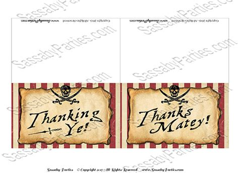 free printable pirate thank you card template pirate thank you cards