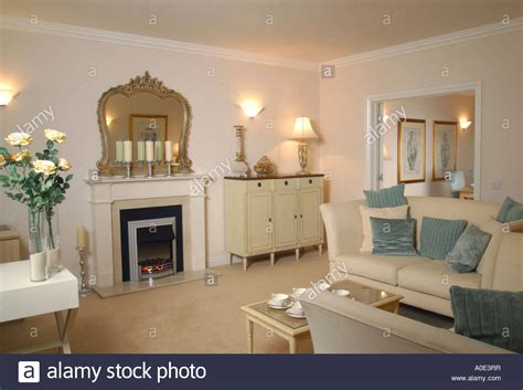 Show Home Living Room by Show Home Interior Furnished Living Room Stock Photo