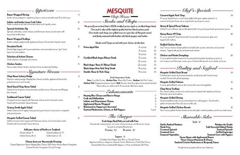 the chop house menu menu picture of mesquite chop house memphis tripadvisor