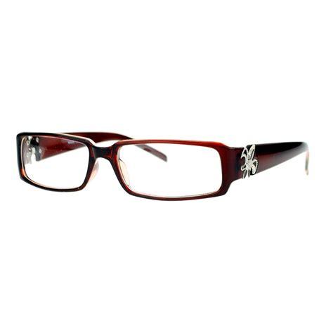 fleur de lis clear lens glasses womens fashion rectangular