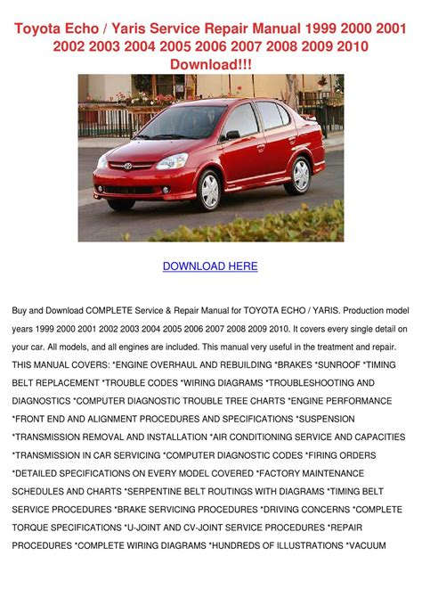 Toyota Echo Yaris Service Repair Manual 1999 By