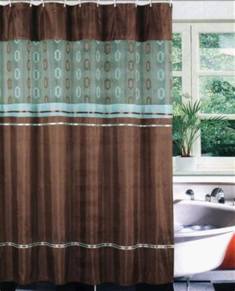 Brown Teal Fabric Bath Shower Curtain Set Liner Hooks