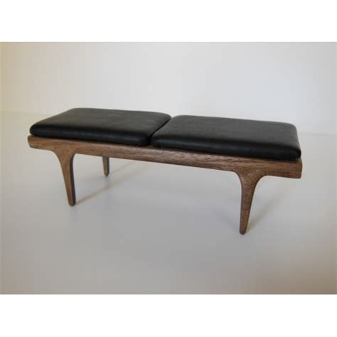 leather benches modern modern dollhouse furniture m112 pods nolan bench in walnut