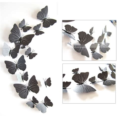 Black And White Wall Stickers 3d butterfly wall stickers 12pcs butterflies art diy
