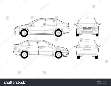 saloon car diagram stock vector 1767620