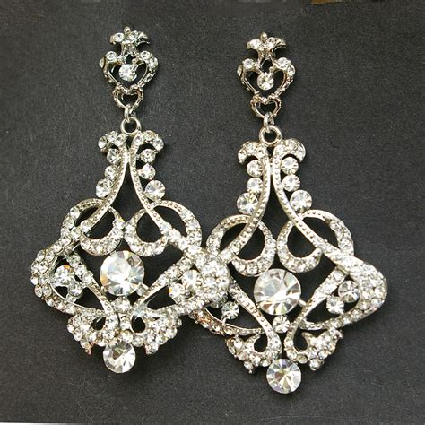 Crystal Chandelier Bridal Earrings Vintage Style By Luxedeluxe Vintage Style Chandelier Earrings