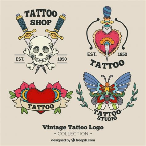tattoo studio logo vector old school tattoo studio logo collection vector free
