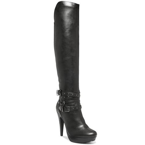 guess boots g by guess dea knee high studded boots in black lyst