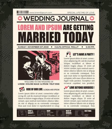 newspaper invitation template free newspaper wedding invitation design template stock vector