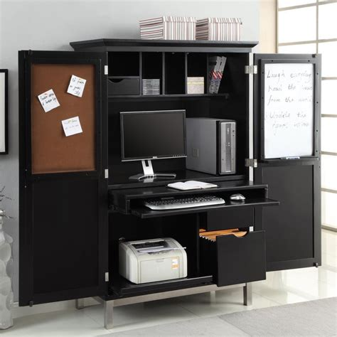 black computer armoire apartments modern home office design with black computer armoires for small spaces glass and