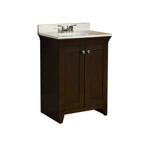 shop allen roth sycamore nutmeg integral single sink poplar bathroom vanity  cultured