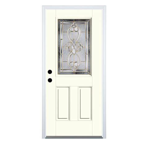 Half Lite Door by Shop Therma Tru Benchmark Doors Half Lite Decorative Light Oak Prehung Inswing Fiberglass Entry