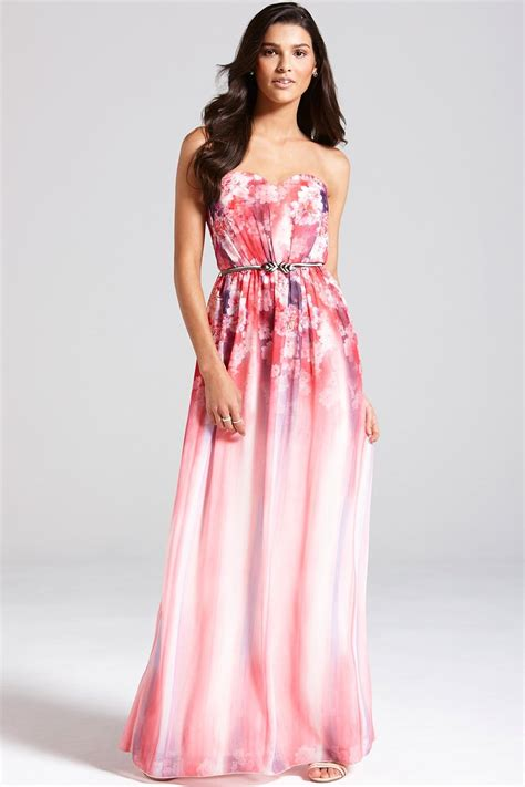 Maxi Pink pink floral bandeau maxi dress from uk