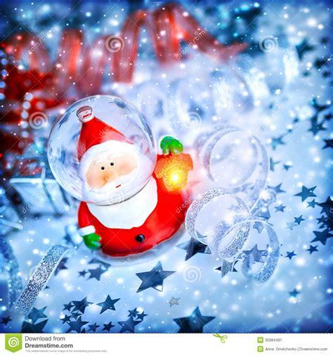 santa ckaus with snow decoration magic santa decoration stock image image of card 35984491